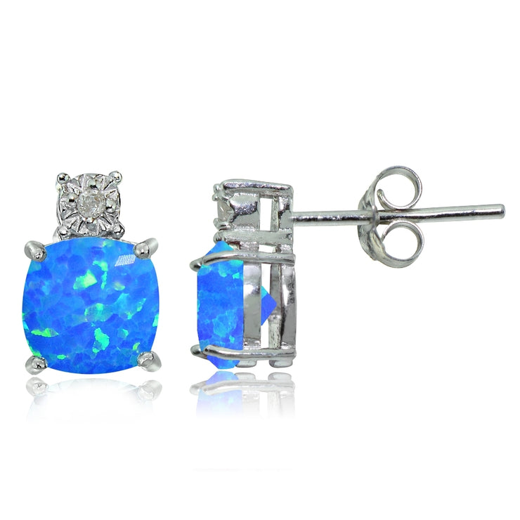 Sterling Silver Created Blue Opal and Diamond Accent Cushion-cut Drop Stud Earrings
