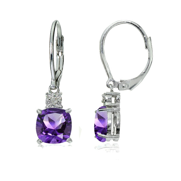 Sterling Silver African Amethyst and Diamond Accent Cushion-cut Dangling Leverback Earrings