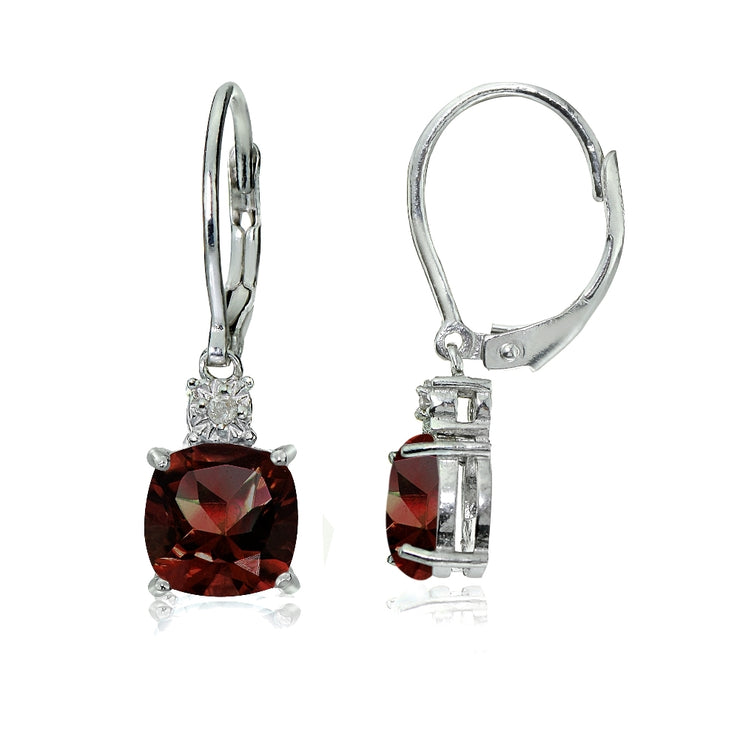 Sterling Silver African Garnet and Diamond Accent Cushion-cut Dangling Leverback Earrings