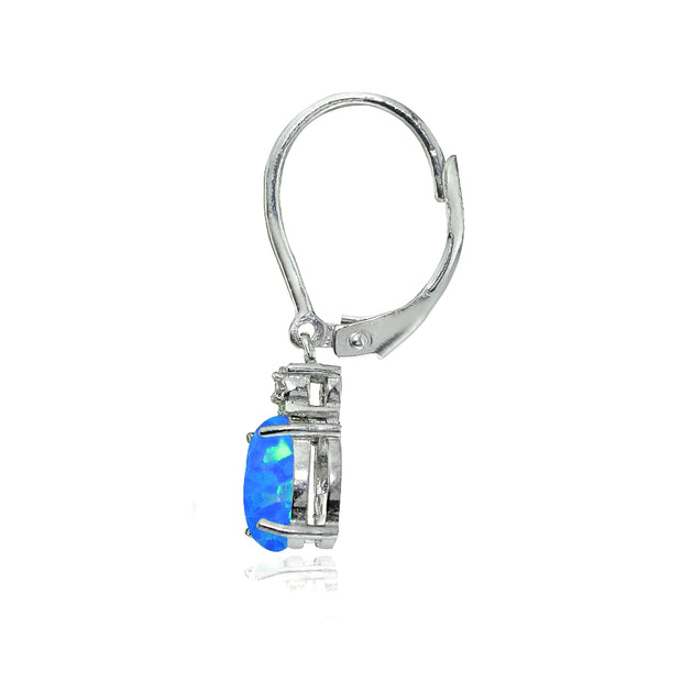 Sterling Silver Created Blue Opal and Diamond Accent Cushion-cut Dangling Leverback Earrings