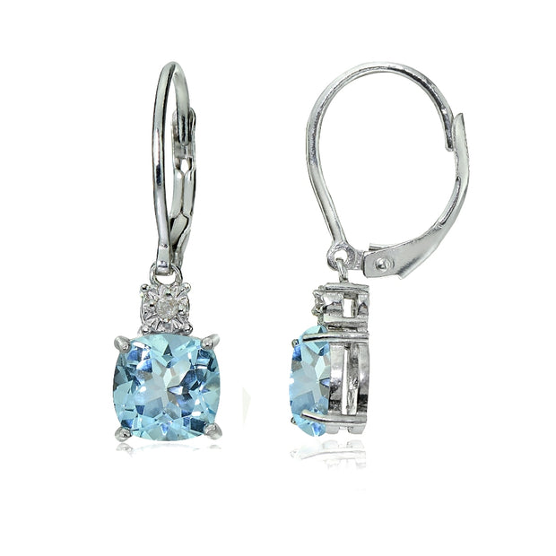 Sterling Silver Blue Topaz and Diamond Accent Cushion-cut Dangling Leverback Earrings