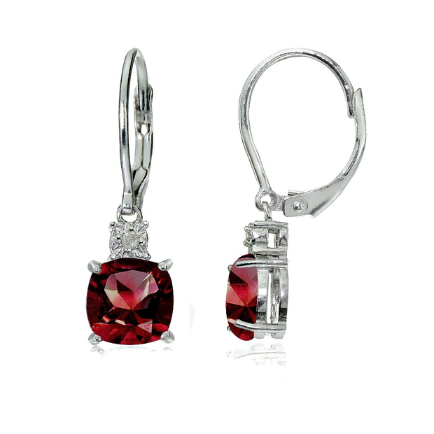 Sterling Silver Created Ruby and Diamond Accent Cushion-cut Dangling Leverback Earrings