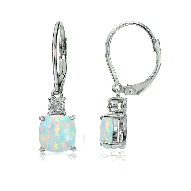 Sterling Silver Created White Opal and Diamond Accent Cushion-cut Dangling Leverback Earrings
