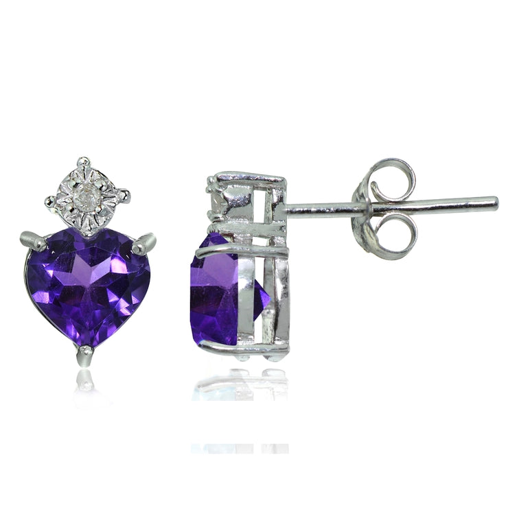 Sterling Silver African Amethyst and Diamond Accent Heart Drop Stud Earrings