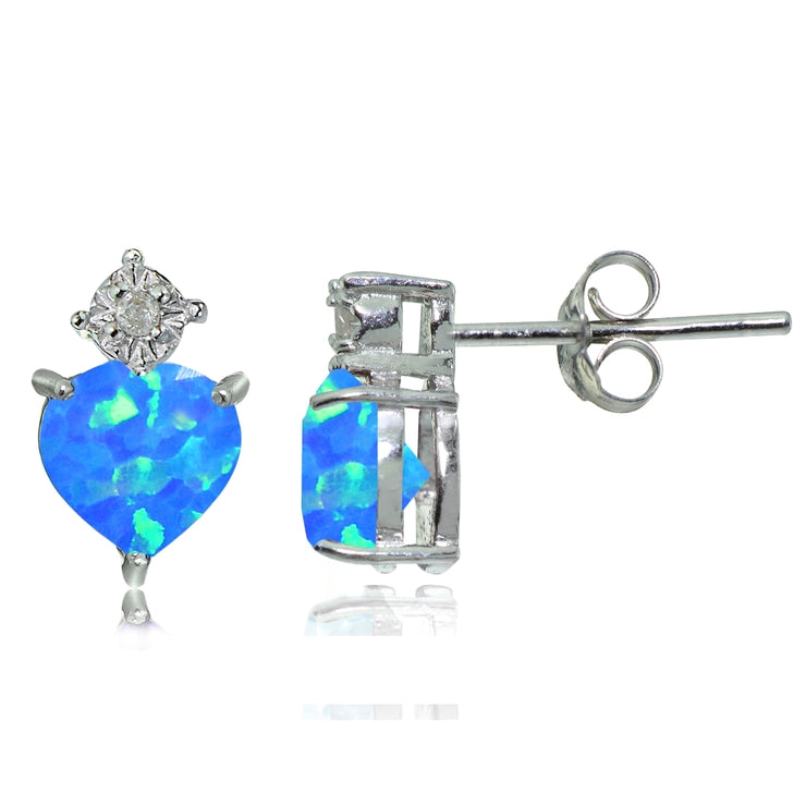 Sterling Silver Created Blue Opal and Diamond Accent Heart Drop Stud Earrings