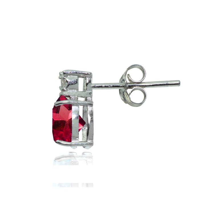 Sterling Silver Created Ruby and Diamond Accent Heart Drop Stud Earrings