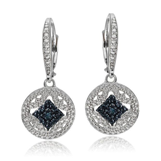 Sterling Silver Blue Diamond Accent Filigree Medallion Dangle Leverback Earrings