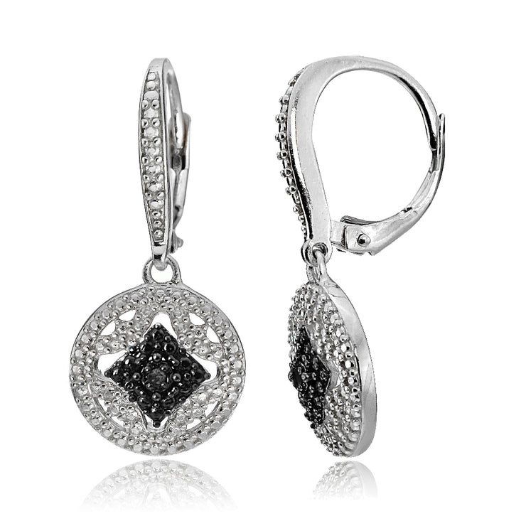 Sterling Silver Black Diamond Accent Filigree Medallion Dangle Leverback Earrings