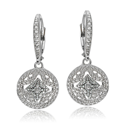Sterling Silver Diamond Accent Filigree Medallion Dangle Leverback Earrings