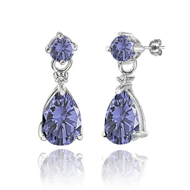 Sterling Silver Created Tanzanite Teardrop Dangle Earrings