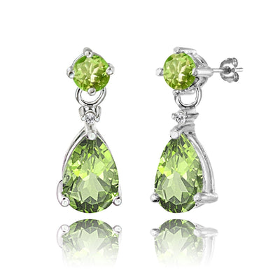 Sterling Silver Peridot Teardrop Dangle Earrings