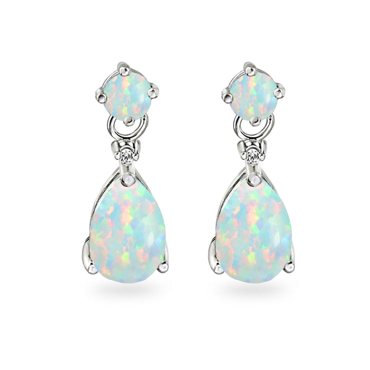 Sterling Silver Created White Opal Teardrop Dangle Earrings