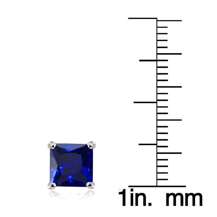 Sterling Silver Created Blue Sapphire 7mm Square Stud Earrings