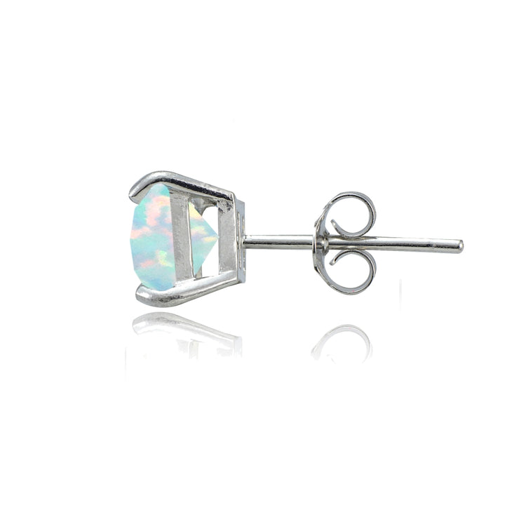Sterling Silver Created White Opal 7mm Square Stud Earrings