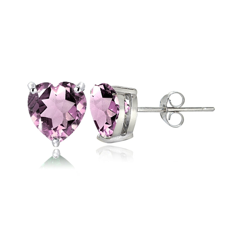 Sterling Silver Created Alexandrite 6mm Heart Stud Earrings