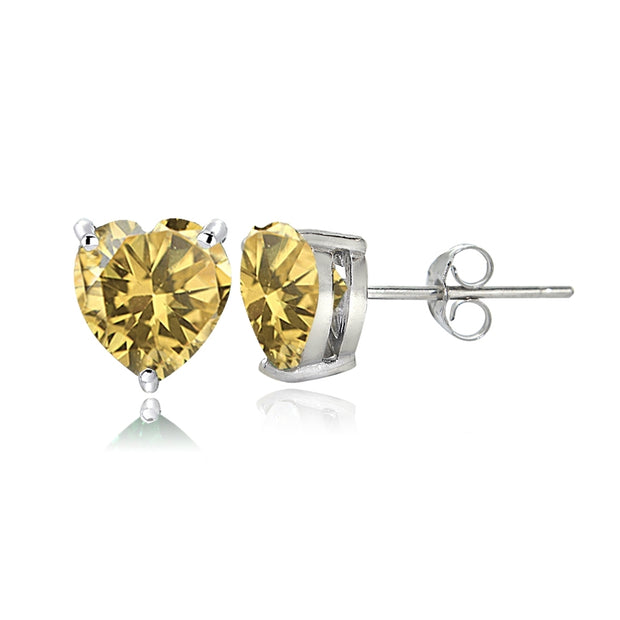 Sterling Silver Citrine 6mm Heart Stud Earrings