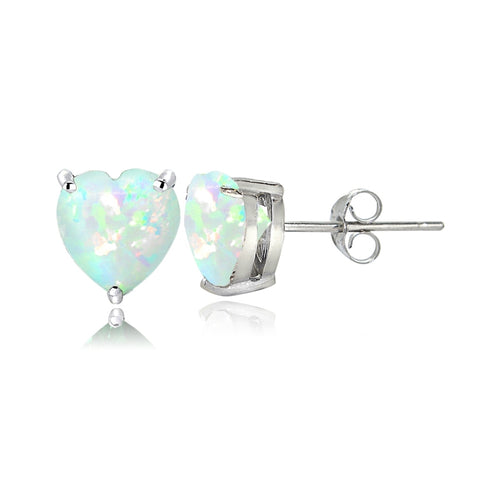 Sterling Silver Created White Opal 6mm Heart Stud Earrings