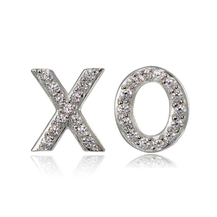 Sterling Silver Cubic Zirconia X and O Stud Earrings