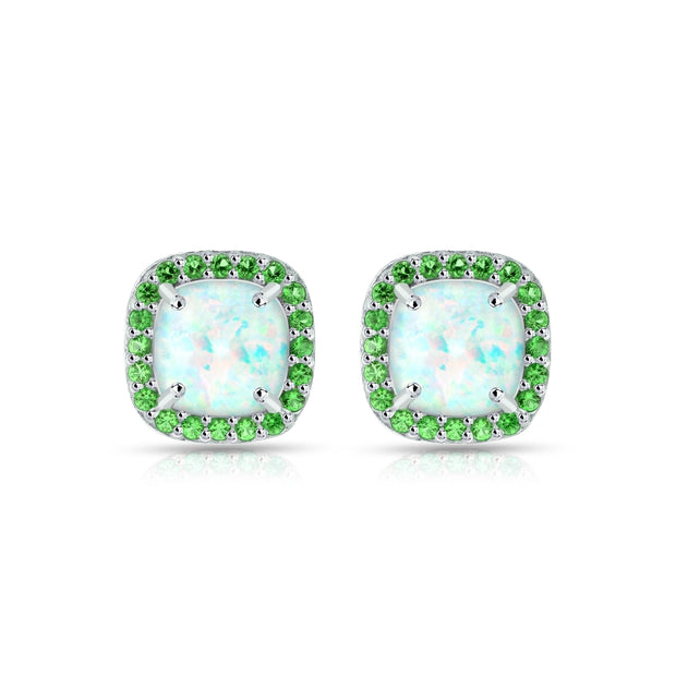 Sterling Silver Created White Opal and Emerald Cushion-cut Halo Stud Earrings