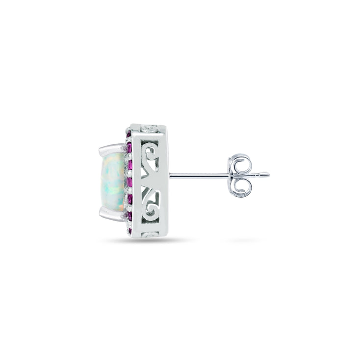 Sterling Silver Created White Opal and Ruby Cushion-cut Halo Stud Earrings