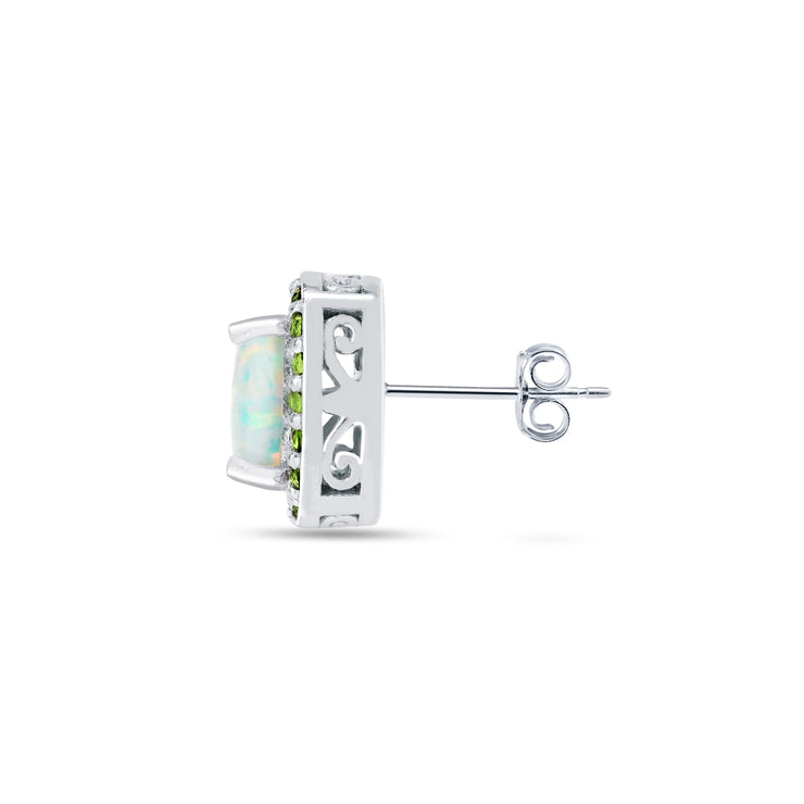 Sterling Silver Created White Opal and Peridot Cushion-cut Halo Stud Earrings
