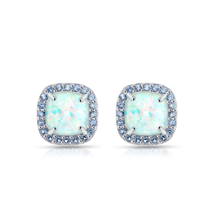 Sterling Silver Created White Opal and Tanzanite Cushion-cut Halo Stud Earrings