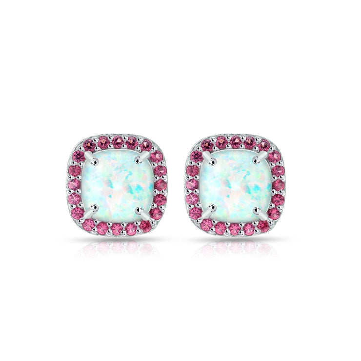 Sterling Silver Created White Opal and Garnet Cushion-cut Halo Stud Earrings