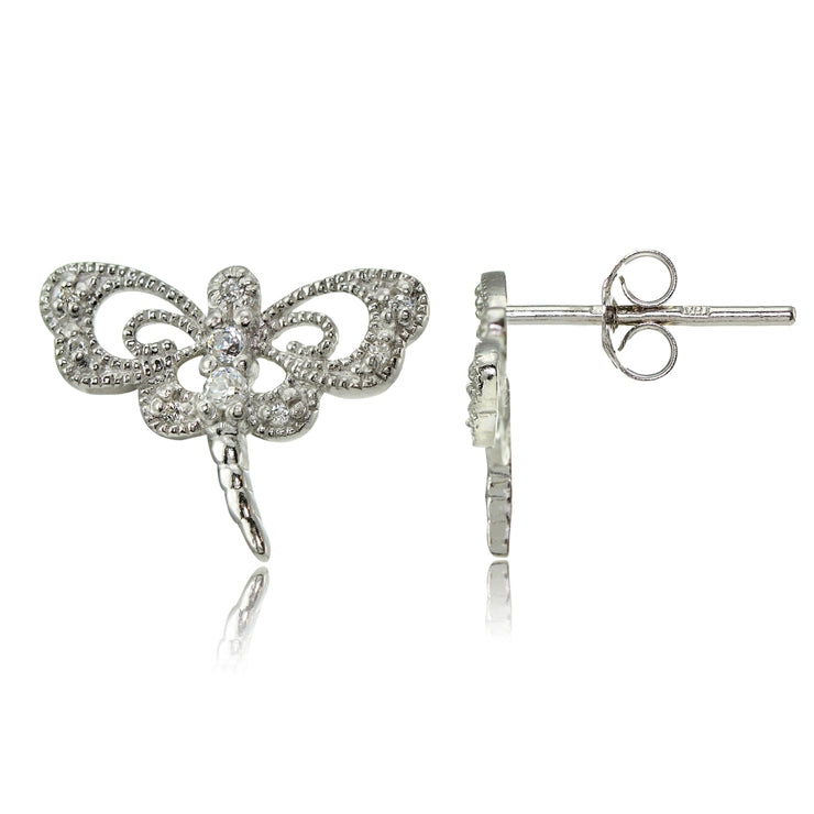 Sterling Silver Cubic Zirconia Dragonfly Stud Earrings