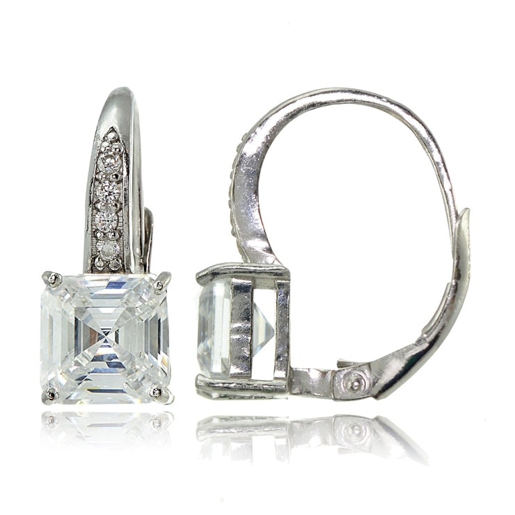 Sterling Silver Cubic Zirconia Asscher Cut Leverback Earrings