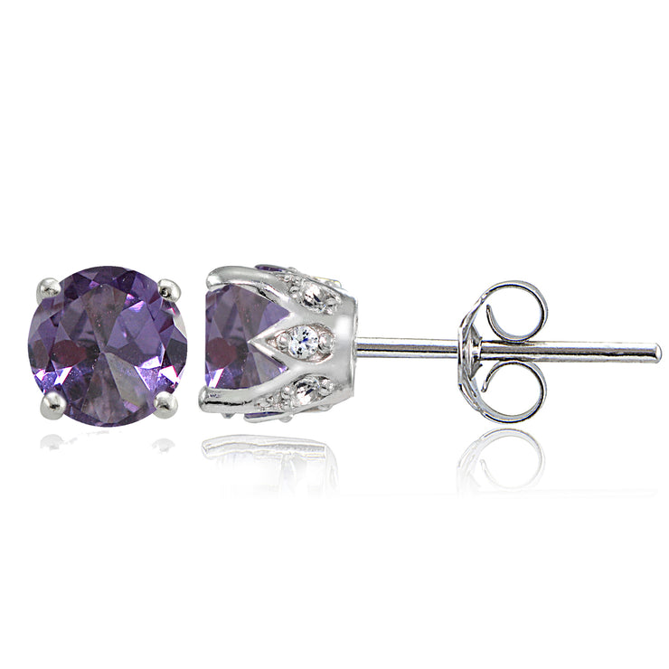 Sterling Silver Created Alexandrite and White Topaz Crown Stud Earrings