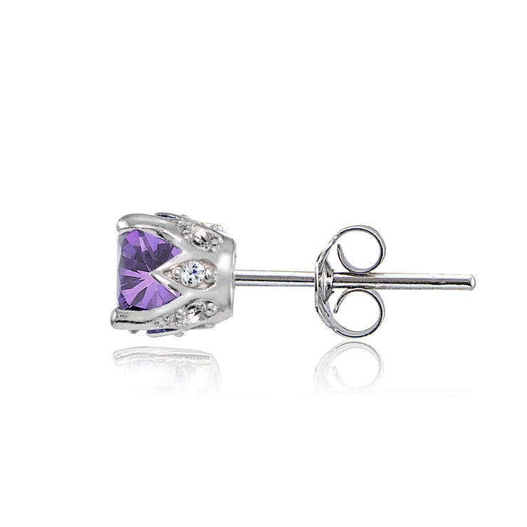 Sterling Silver Amethyst and White Topaz Crown Stud Earrings