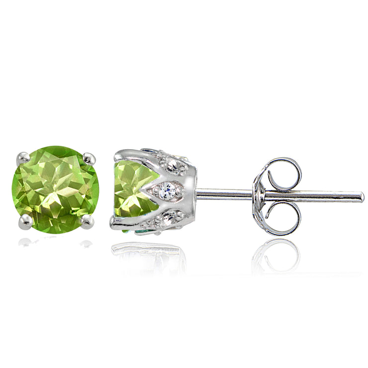 Sterling Silver Peridot and White Topaz Crown Stud Earrings
