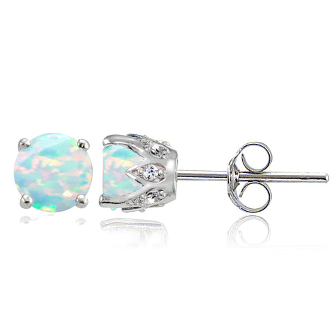 Sterling Silver Simulated White Opal and White Topaz Crown Stud Earrings