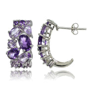 Sterling Silver African Amethyst and Amethyst Tonal Cluster Earrings