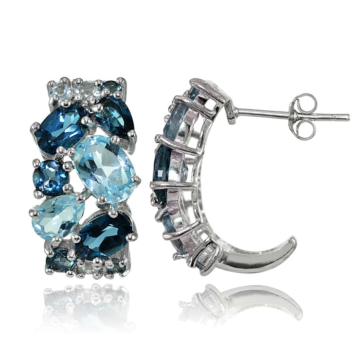 Sterling Silver London Blue Topaz and Blue Topaz Tonal Cluster Earrings