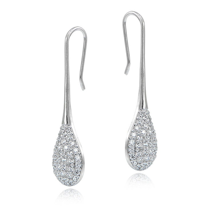 Sterling Silver Cubic Zirconia Teardrop Hook Earrings