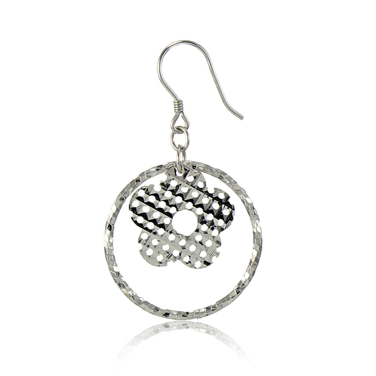 Sterling Silver Diamond-Cut Hoop with Flower Charm Dangle Earrings