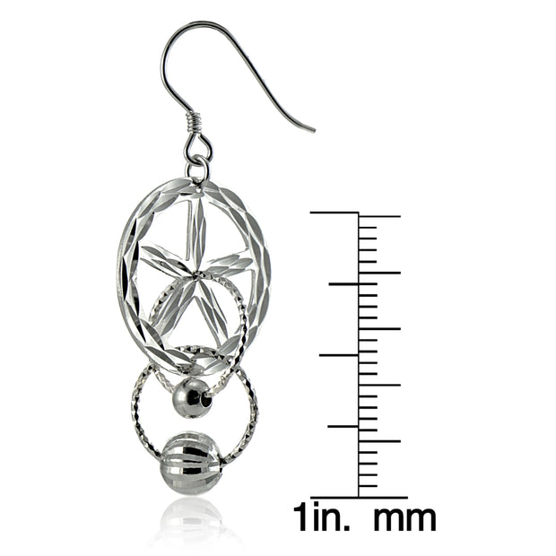 Sterling Silver Diamond-Cut Multi Circle and Bead Dangle Earrings