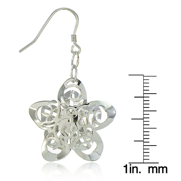 Sterling Silver Diamond-Cut Zinnia Flower Dangle Earrings