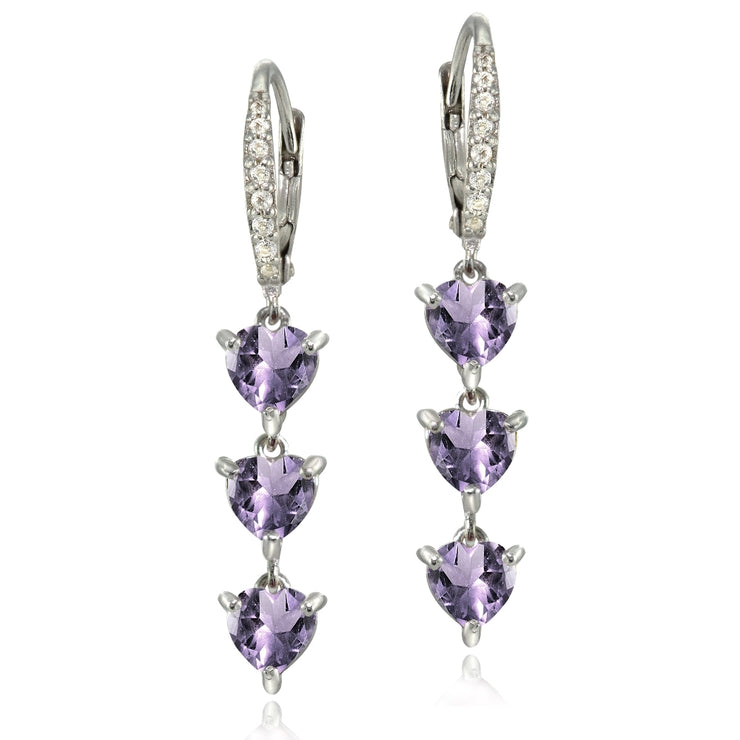 Sterling Silver Amethyst and White Topaz Heart 3-Stone Dangle Earrings