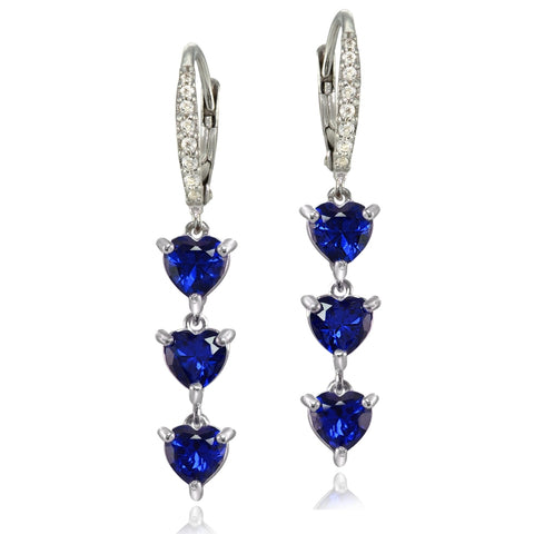 Sterling Silver Created Blue Sapphire and White Topaz Heart 3-Stone Dangle Earrings