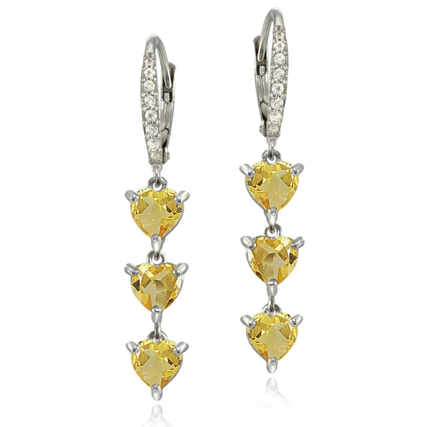Sterling Silver Citrine and White Topaz Heart 3-Stone Dangle Earrings