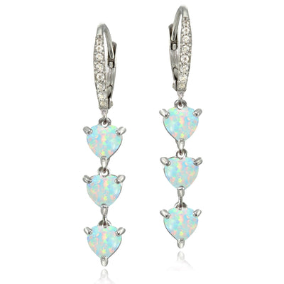 Sterling Silver Created White Opal and White Topaz Heart 3-Stone Dangle Earrings