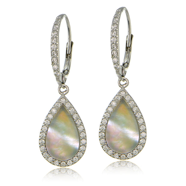 Sterling Silver Mother of Pearl and Cubic Zirconia Teardrop Dangle Leverback Earrings