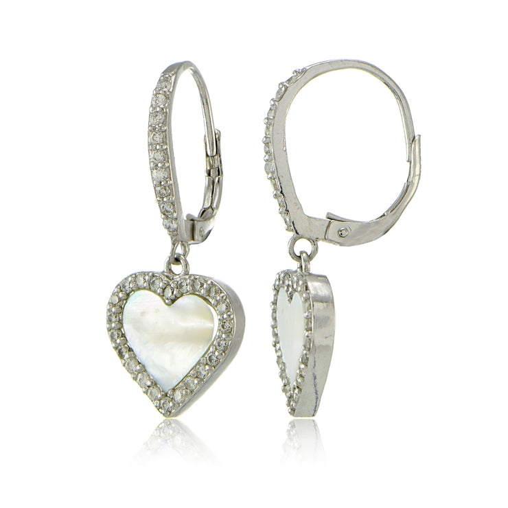 Sterling Silver Mother of Pearl and Cubic Zirconia Heart Dangle Leverback Earrings