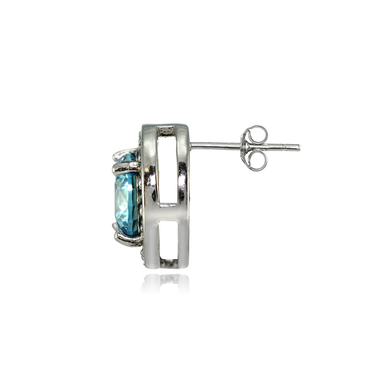 Sterling Silver Created Aquamarine and Marcasite Halo Stud Earrings