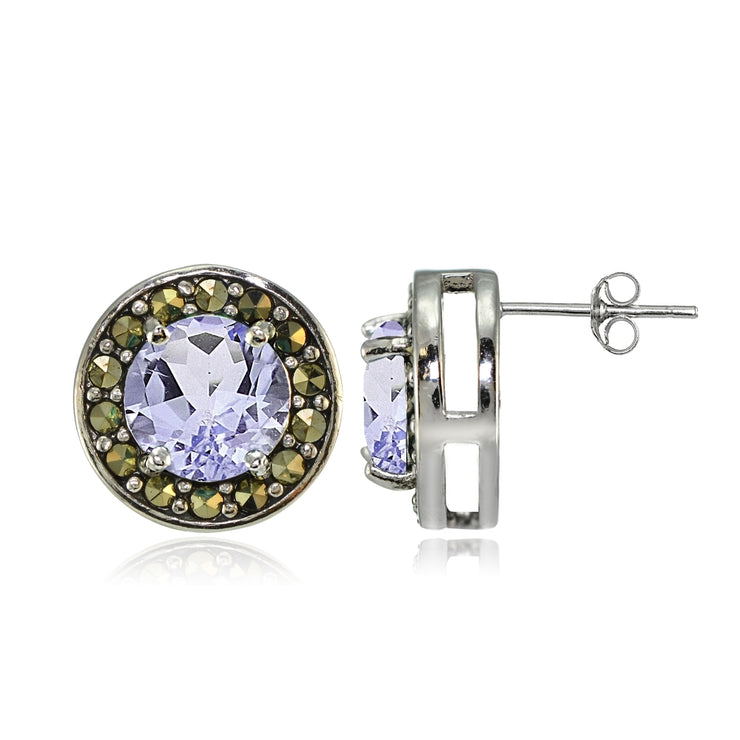 Sterling Silver Amethyst and Marcasite Halo Stud Earrings
