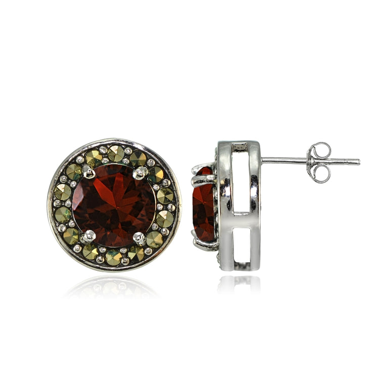 Sterling Silver Garnet and Marcasite Halo Stud Earrings