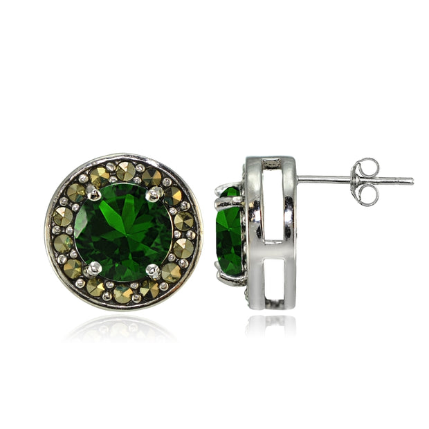 Sterling Silver Created Emerald and Marcasite Halo Stud Earrings