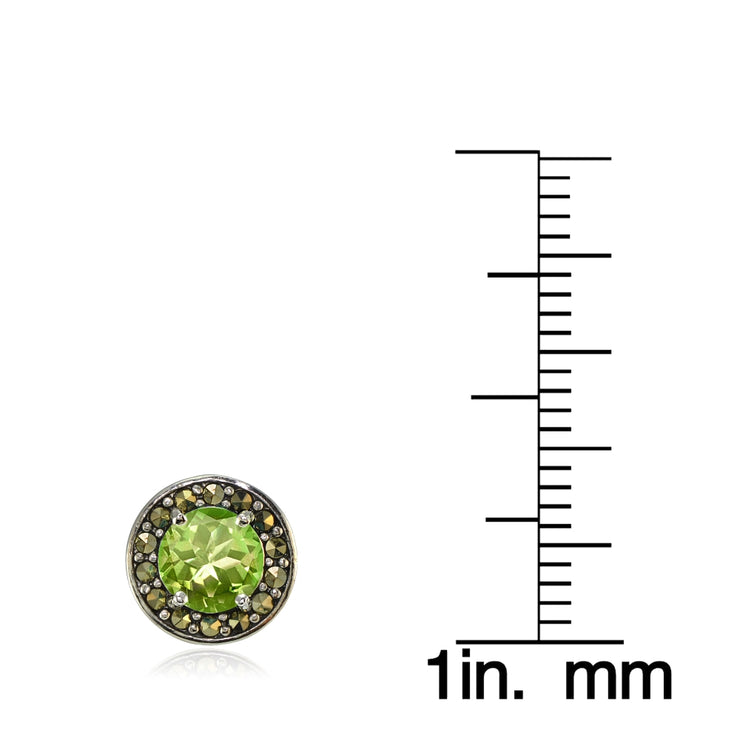 Sterling Silver Peridot and Marcasite Halo Stud Earrings